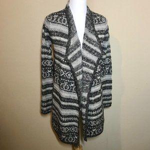Lucky Brand Grey Stripe Aztec Print Cardigan